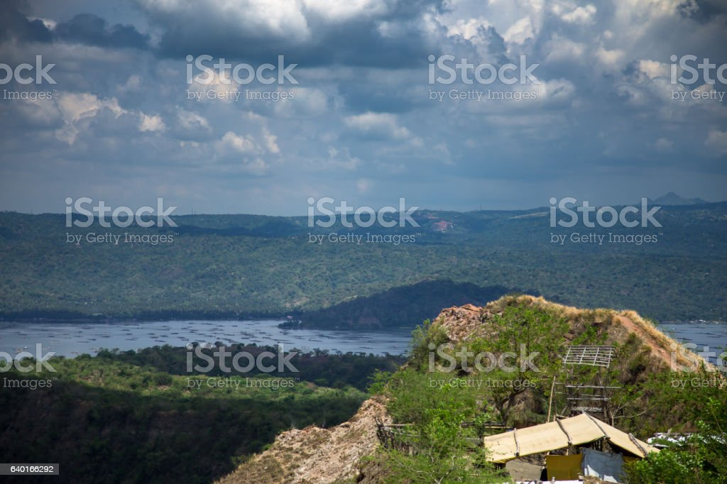 Sheds on Volcano Island, Taal Lake stock photo