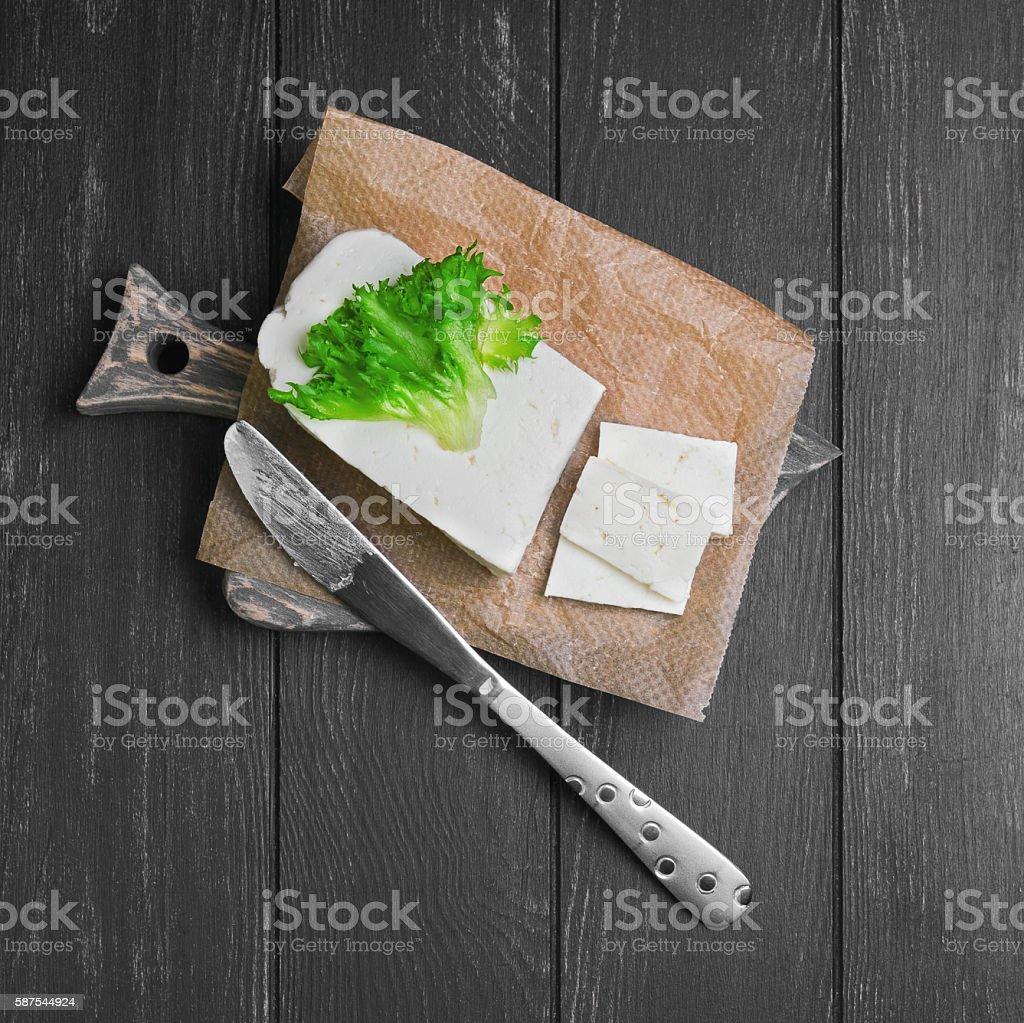 Sheep cheese feta Sirtaki stock photo