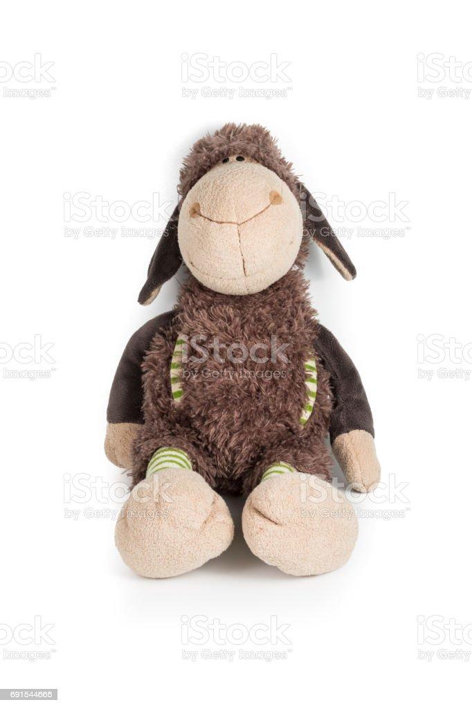 sheep doll isolated on white background stock photo