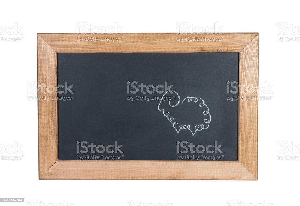 Sheep Drawing with Chalk on Blackboard with White Background stock photo