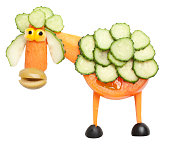 Sheep made of tomato and cucumber