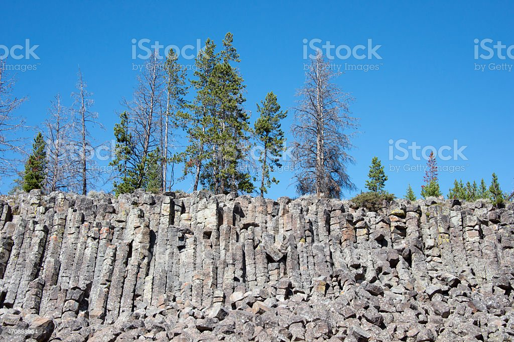 Sheepeater Cliff in Wyoming stock photo