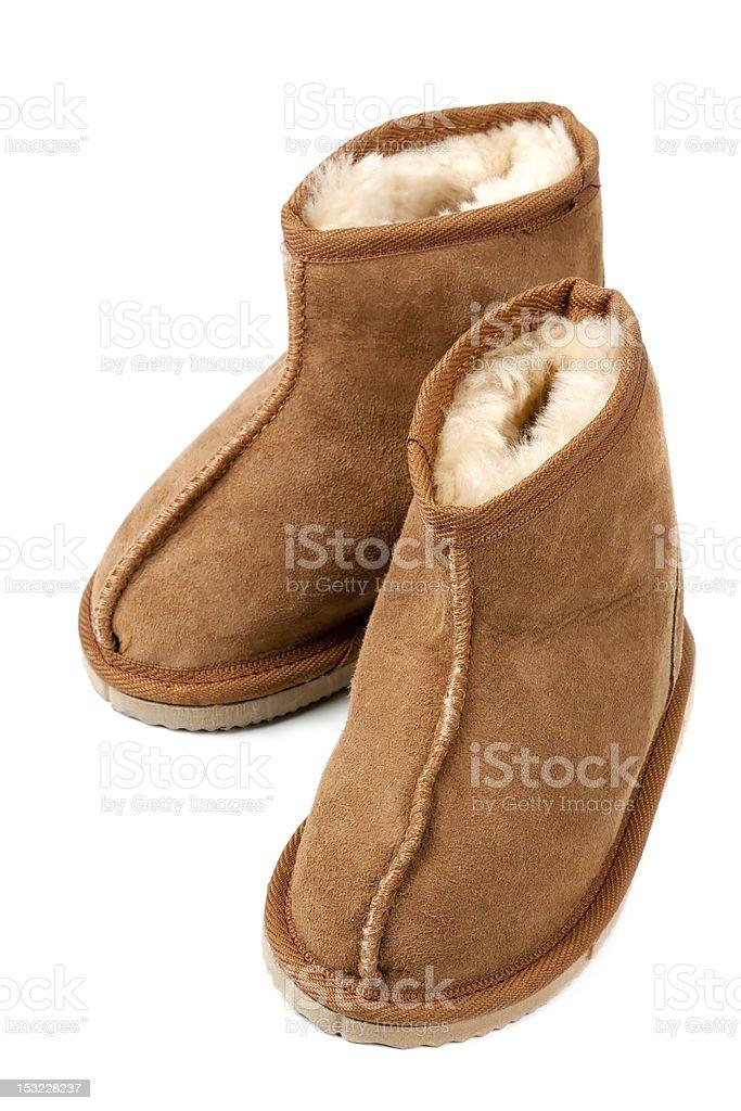 Sheepskin Boots on White stock photo