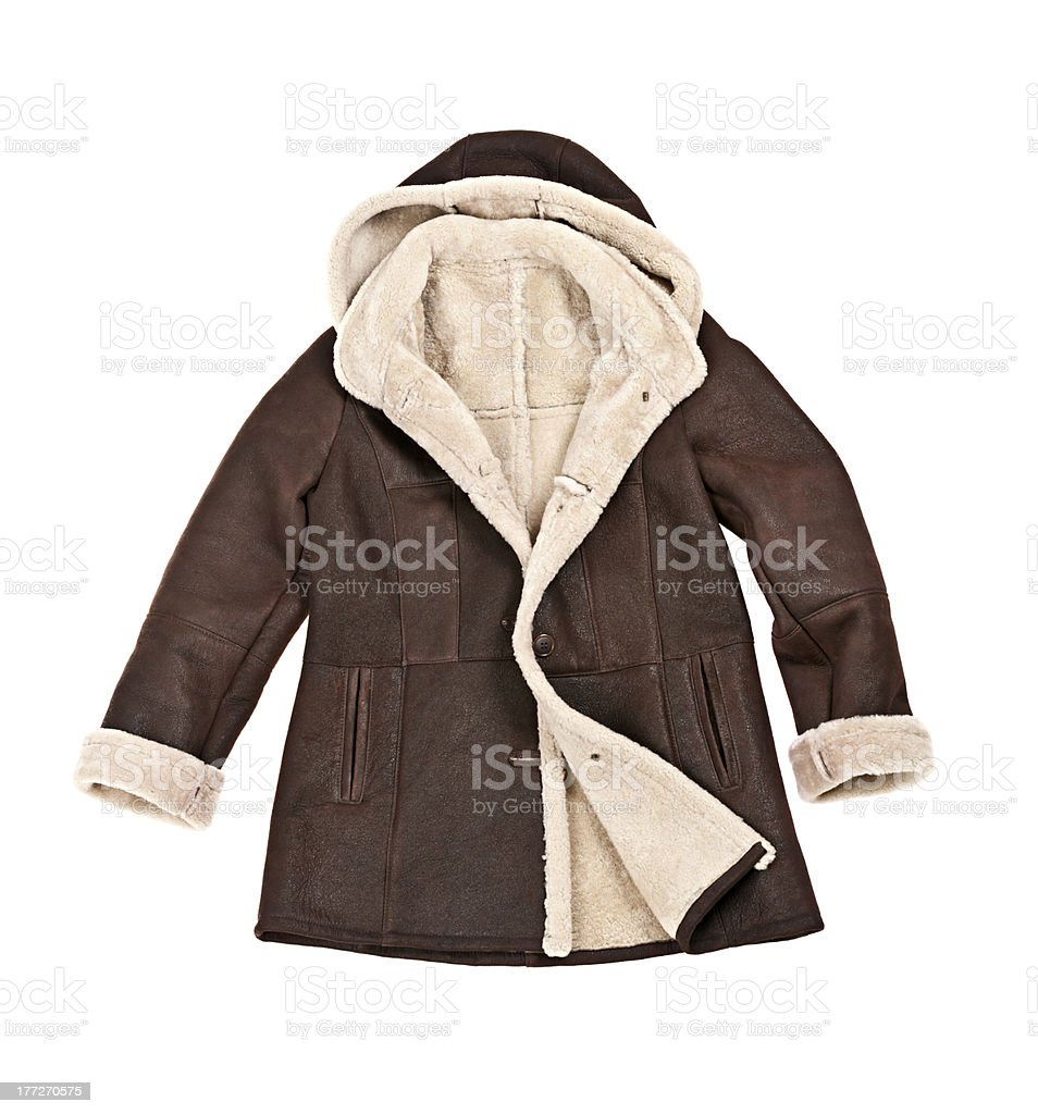 Sheepskin winter coat stock photo