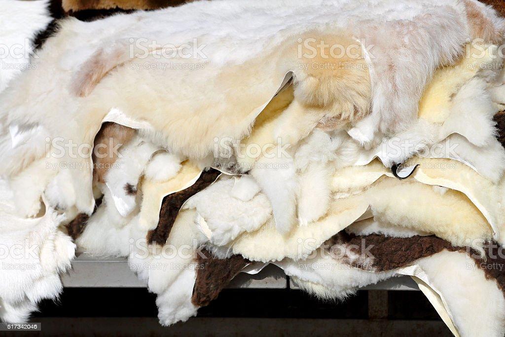 Sheepskins stock photo