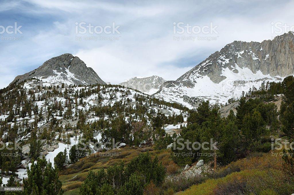 Sheer peaks from Mono pass trail stock photo
