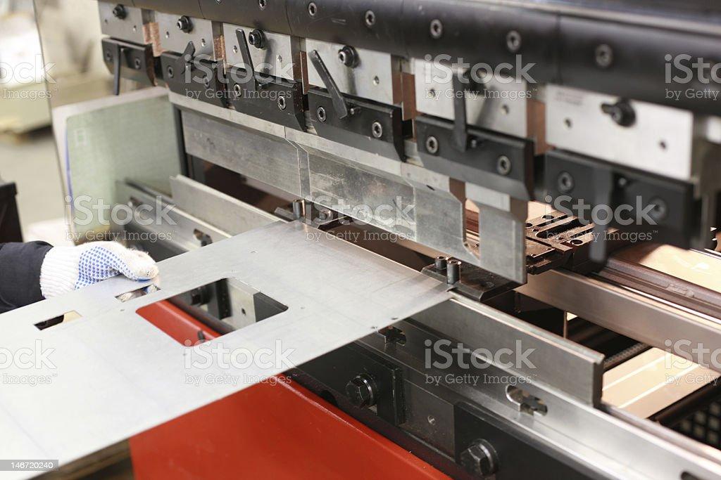 Sheet metal bending machine stock photo