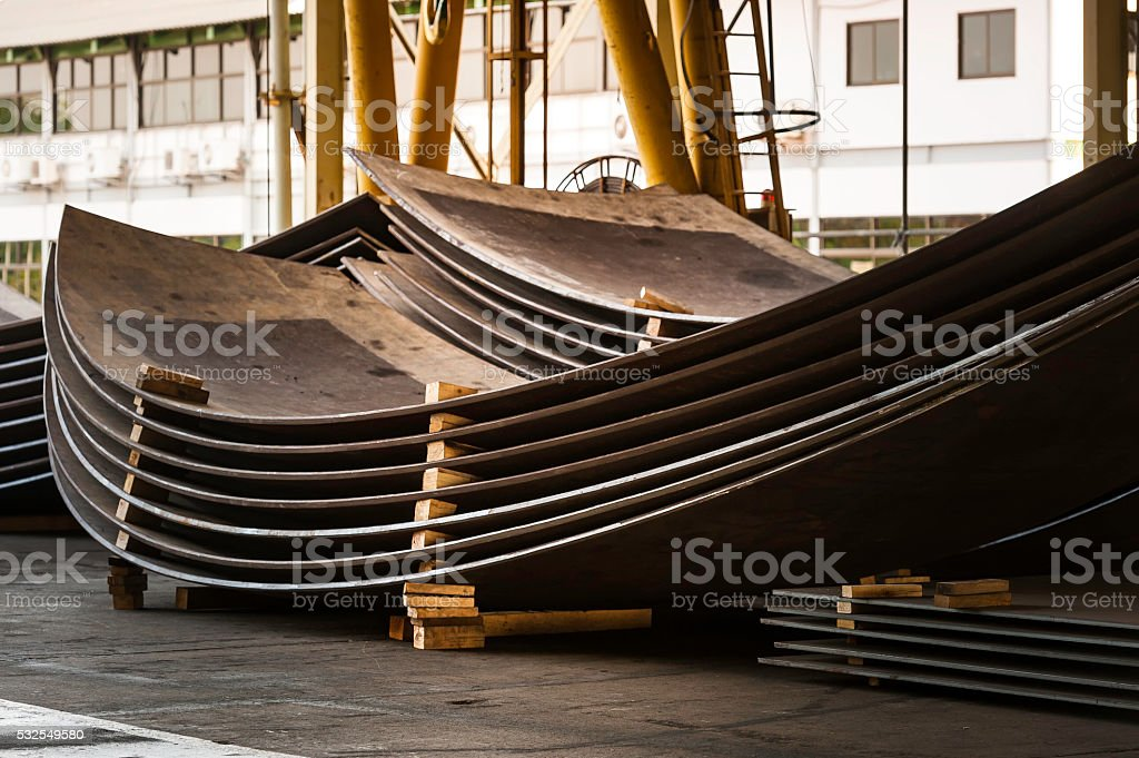 sheet metal in production work shop stock photo