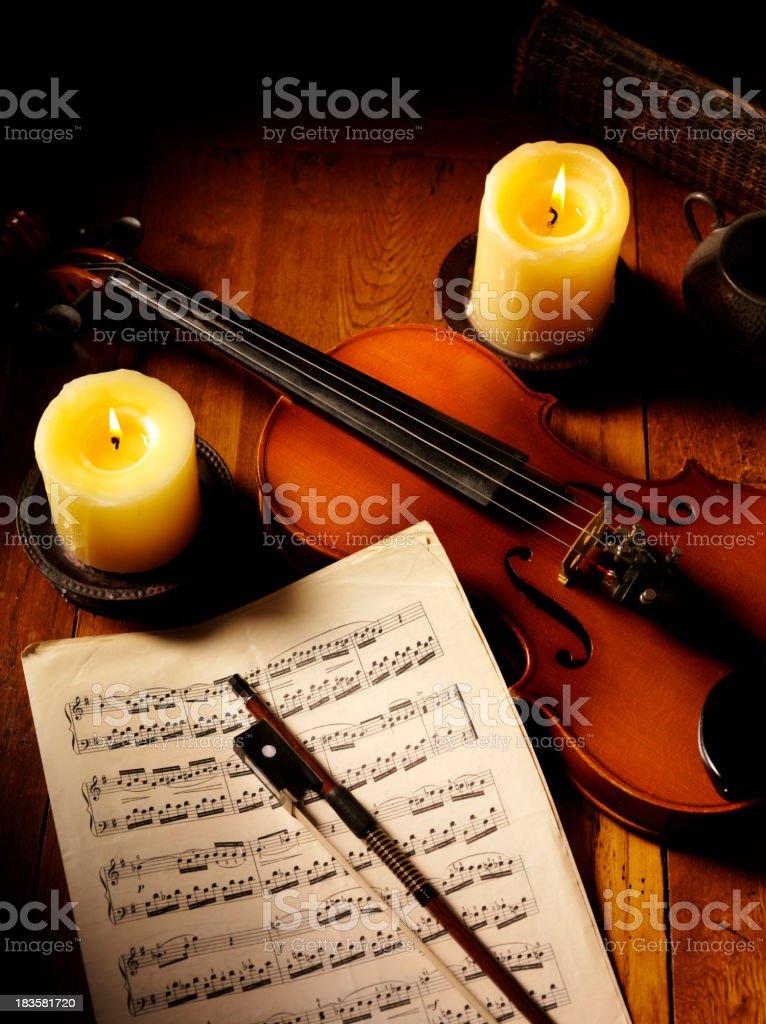 Sheet Music and a Violin royalty-free stock photo