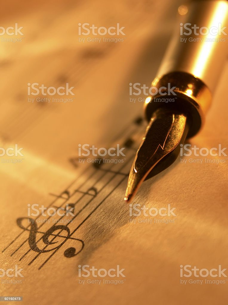 Sheet music and fountain pen royalty-free stock photo