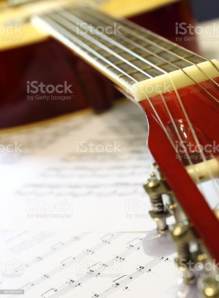 Sheet music and musical instrument stock photo