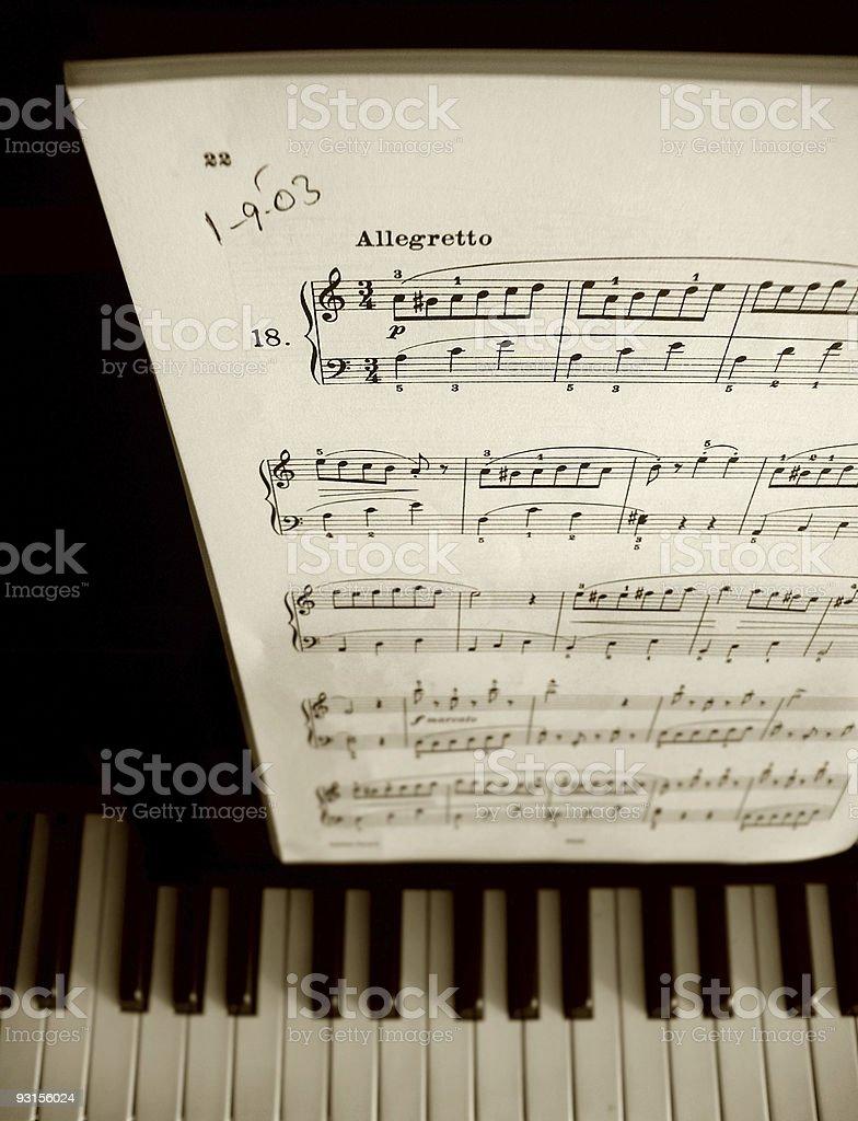 Sheet Music and Piano Keys stock photo
