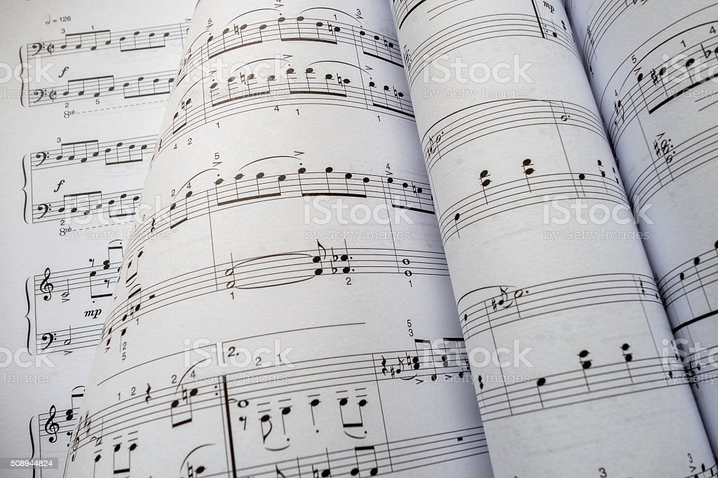Sheet Music Background Musical Notes with selective focus stock photo