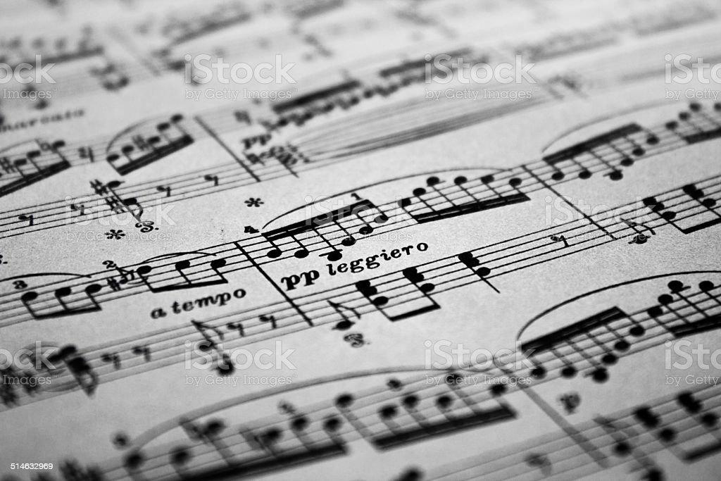 Sheet Music Background, pianissimo sign stock photo
