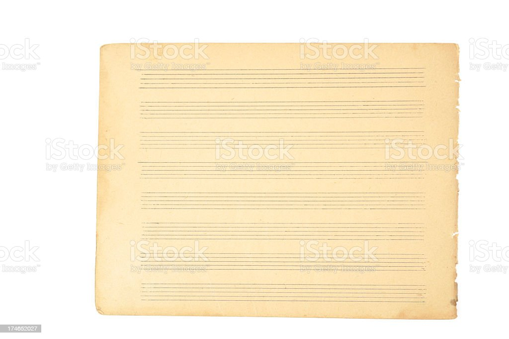 Sheet music - blank page. stock photo