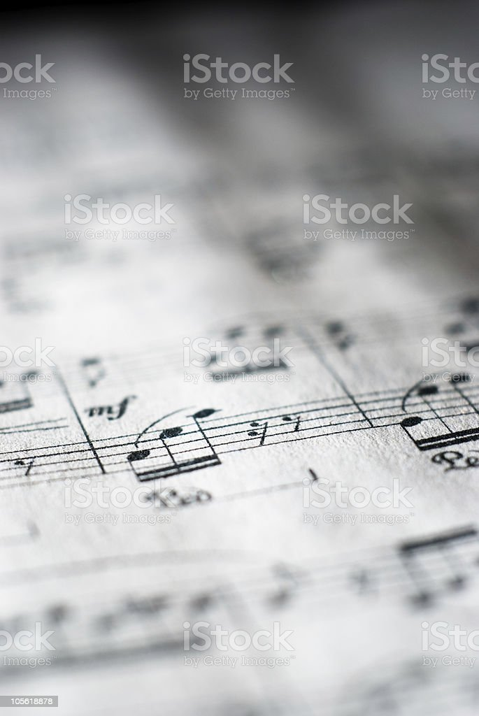 Sheet music in black and white royalty-free stock photo