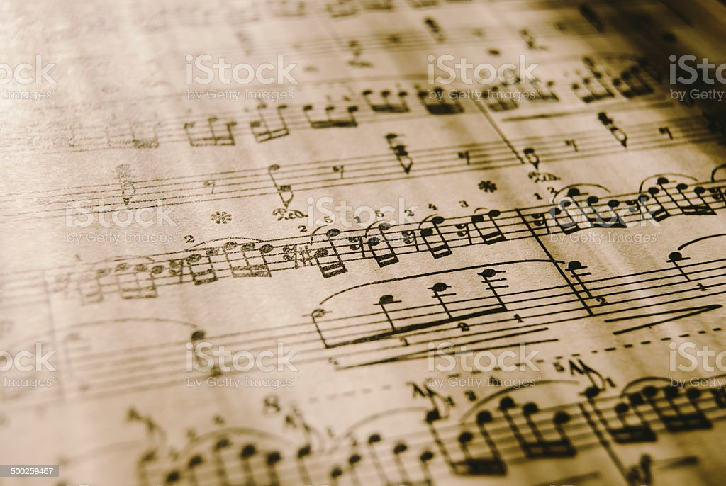 Sheet Music, vintage stock photo