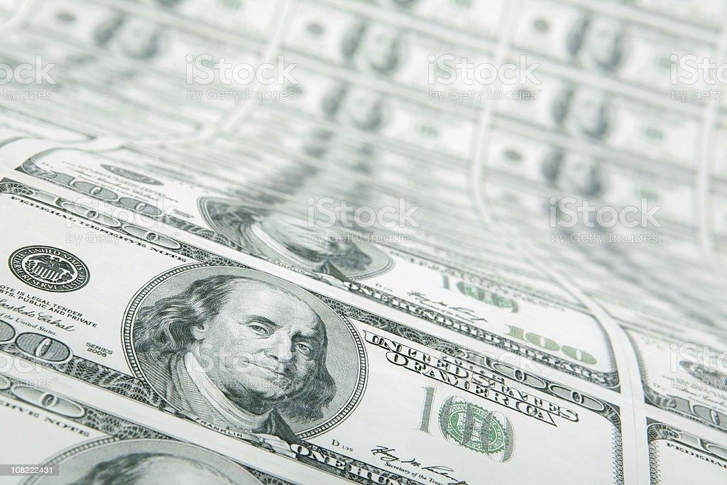 Sheet of $100 Bills stock photo