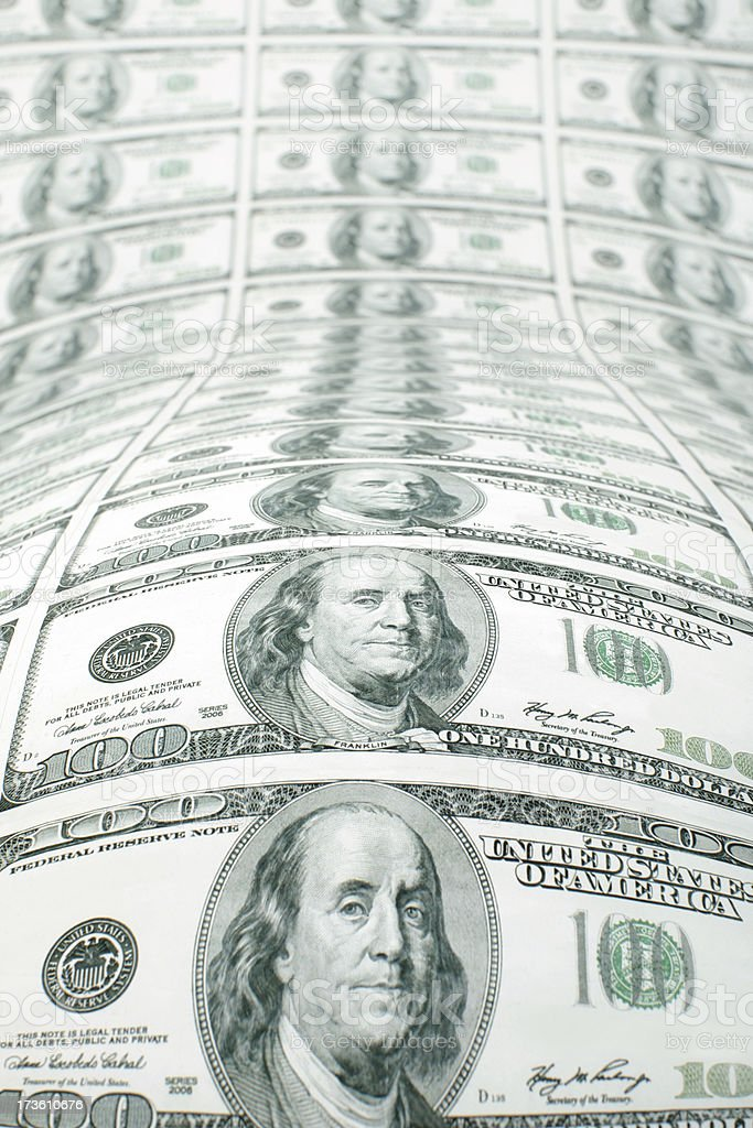 Sheet of $100 Bills stock photo