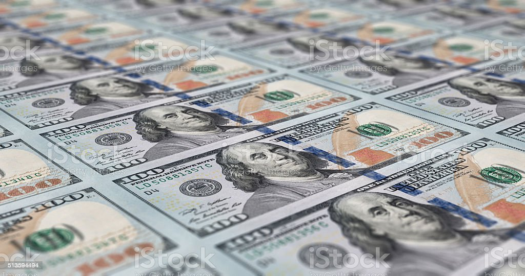 Sheet of 100 dollar notes stock photo