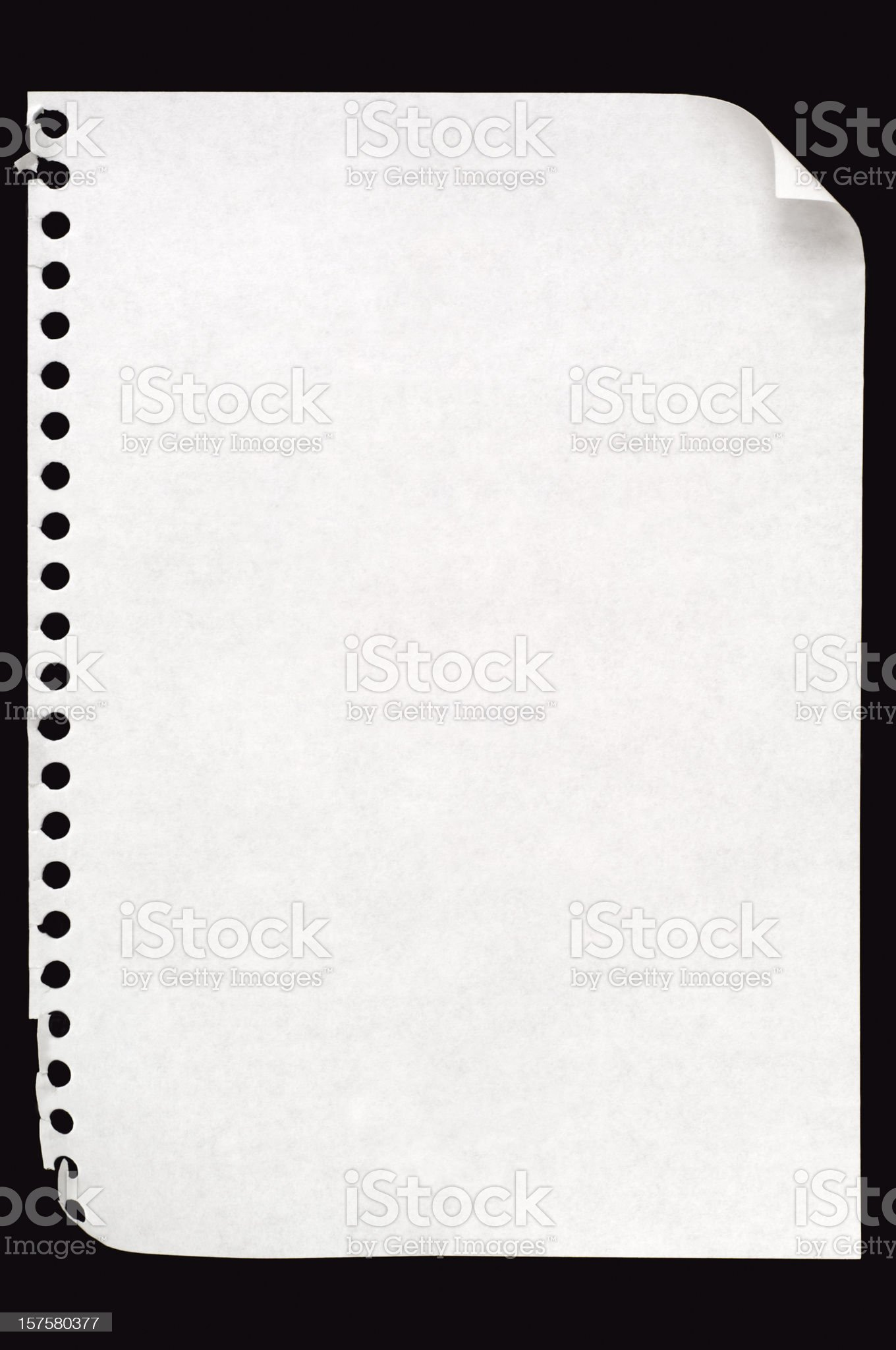 Sheet of blank note paper on black royalty-free stock photo