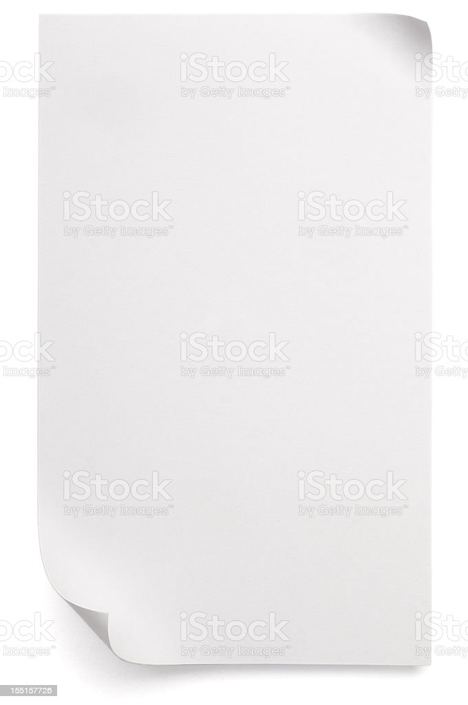 Sheet of blank paper curled up at two corners royalty-free stock photo