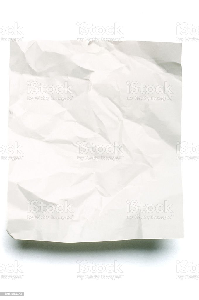 Sheet of crumpled blank note paper stock photo