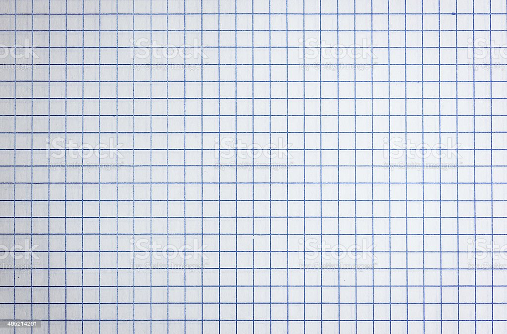 Sheet of Graph Paper Isolated on White - Stock Image stock photo