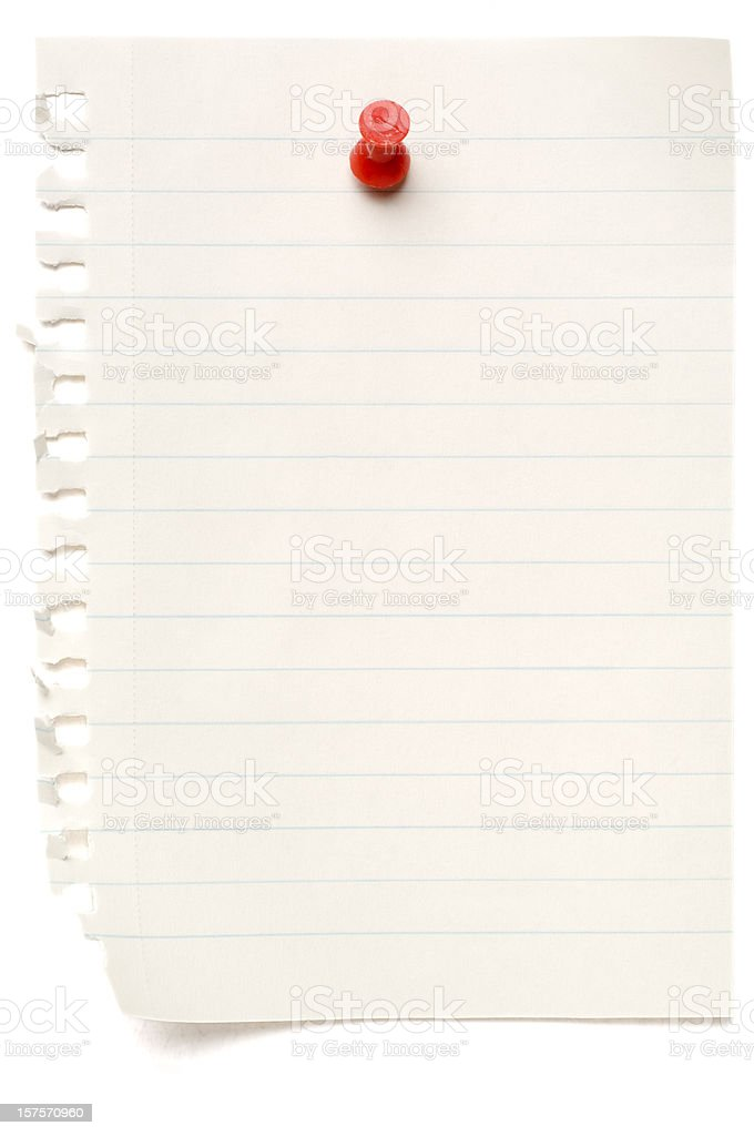 Sheet of lined blank note paper isolated on white stock photo