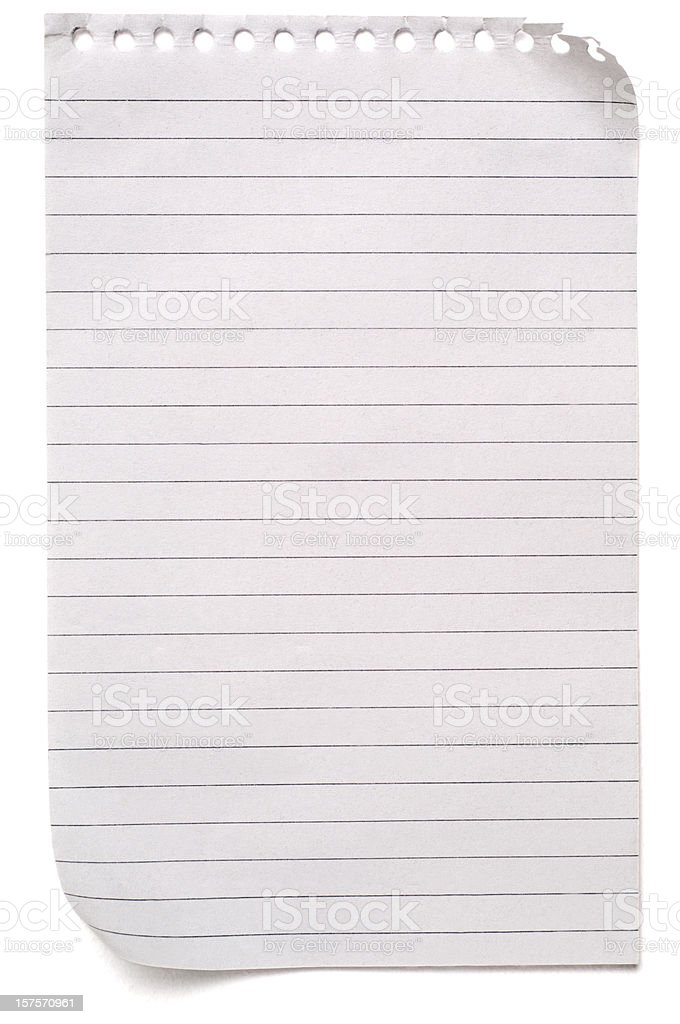 Sheet of lined blank note paper on white royalty-free stock photo