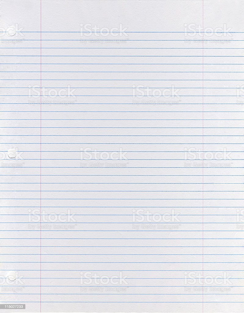Sheet of looseleaf paper stock photo