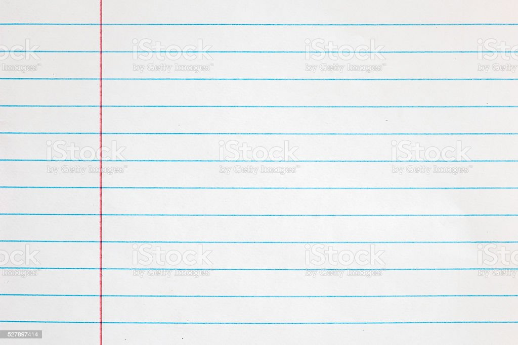 Sheet of looseleaf paper,detailed lined paper texture stock photo