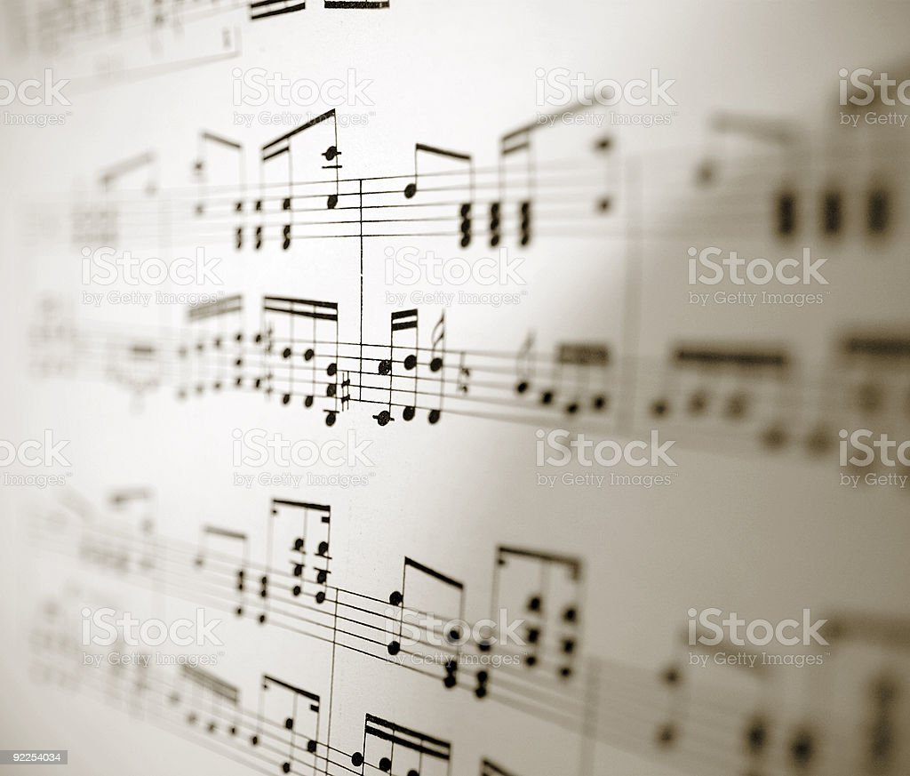 Sheet of musical notes stock photo