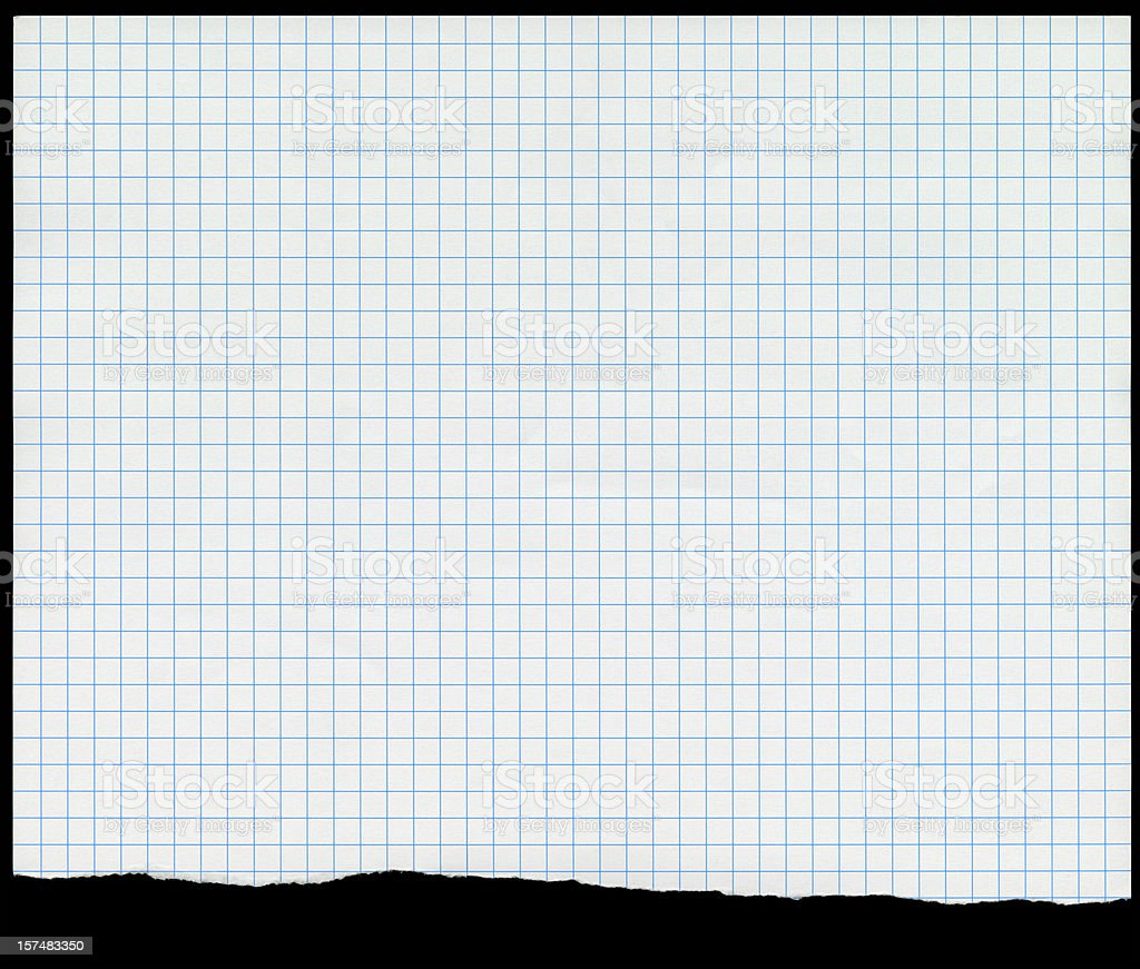Sheet of New Graph Paper With Ragged Tear royalty-free stock photo