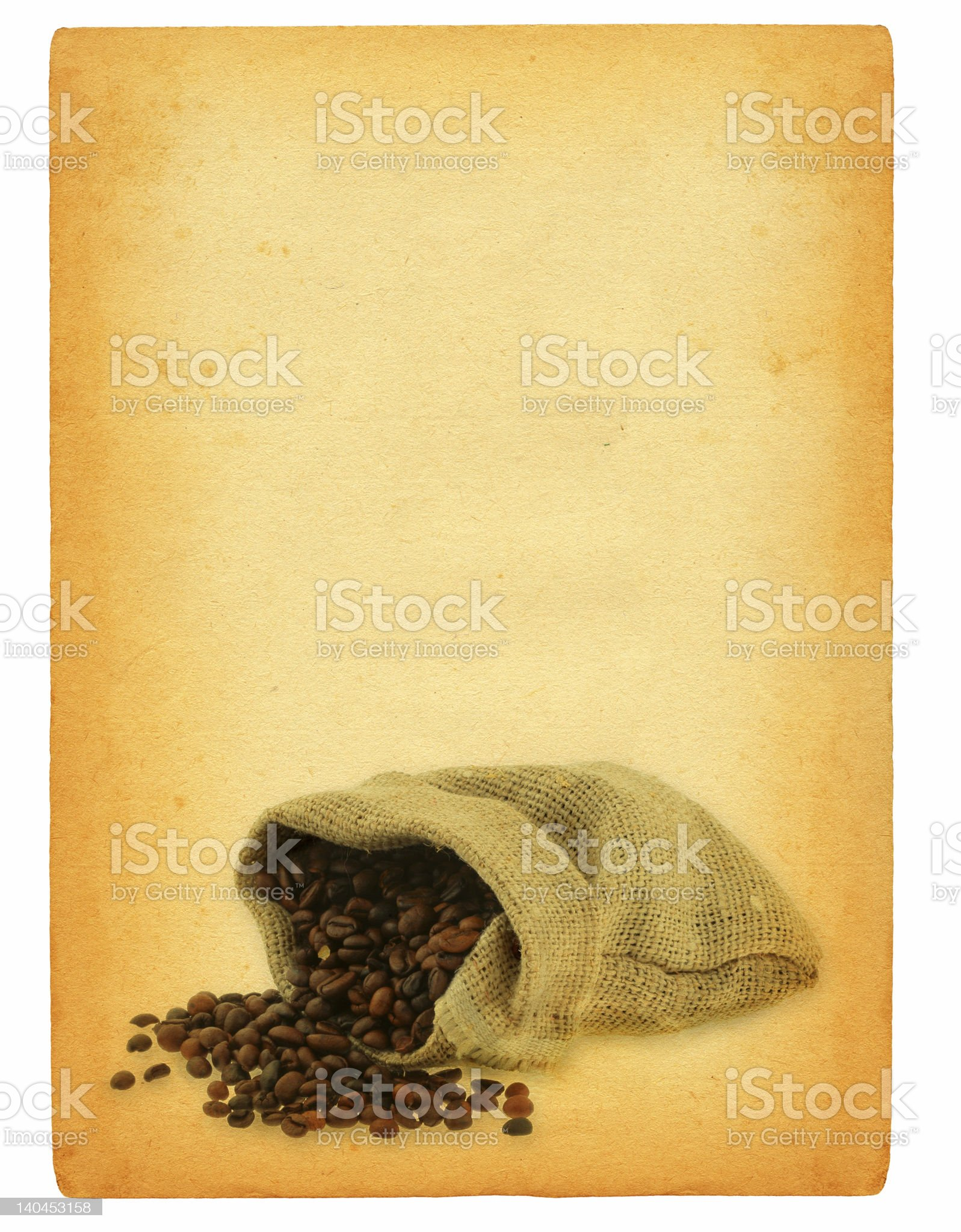 sheet of old paper with spilled coffee motif royalty-free stock photo