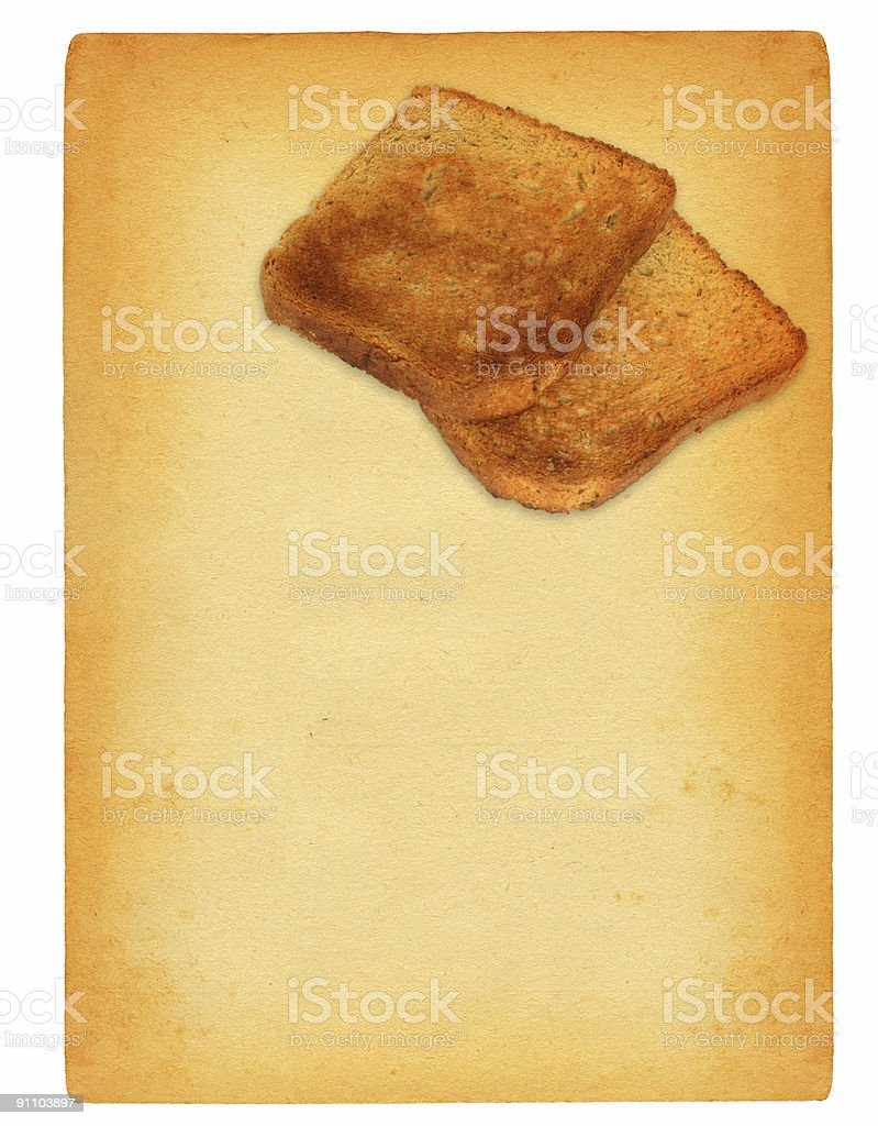 sheet of old paper with toast bread motif royalty-free stock photo