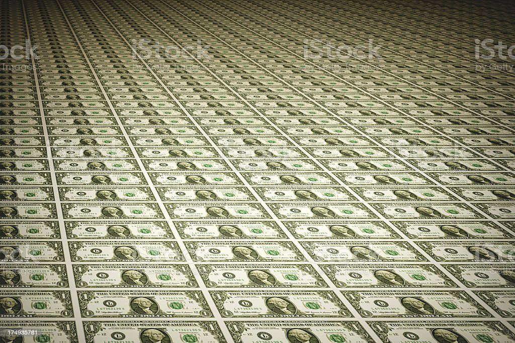Sheet of One Dollar Bills | Finance and Business royalty-free stock photo