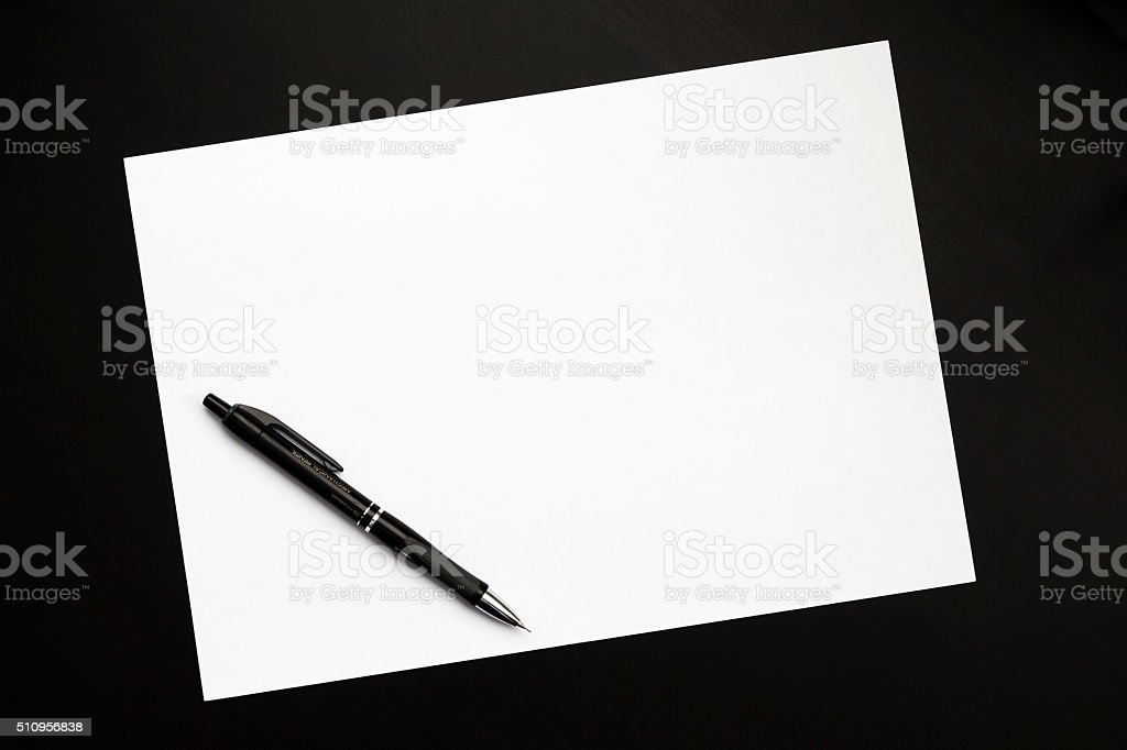 Sheet of paper and pencil stock photo