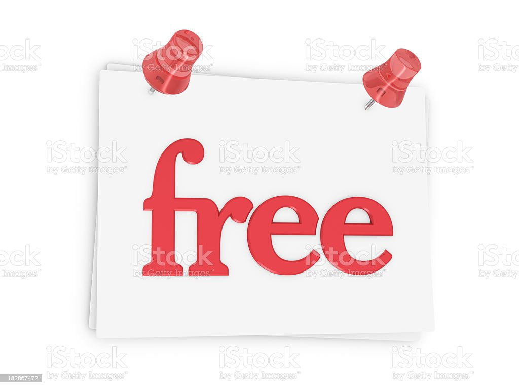 Sheet of Paper and Word  'free' royalty-free stock photo
