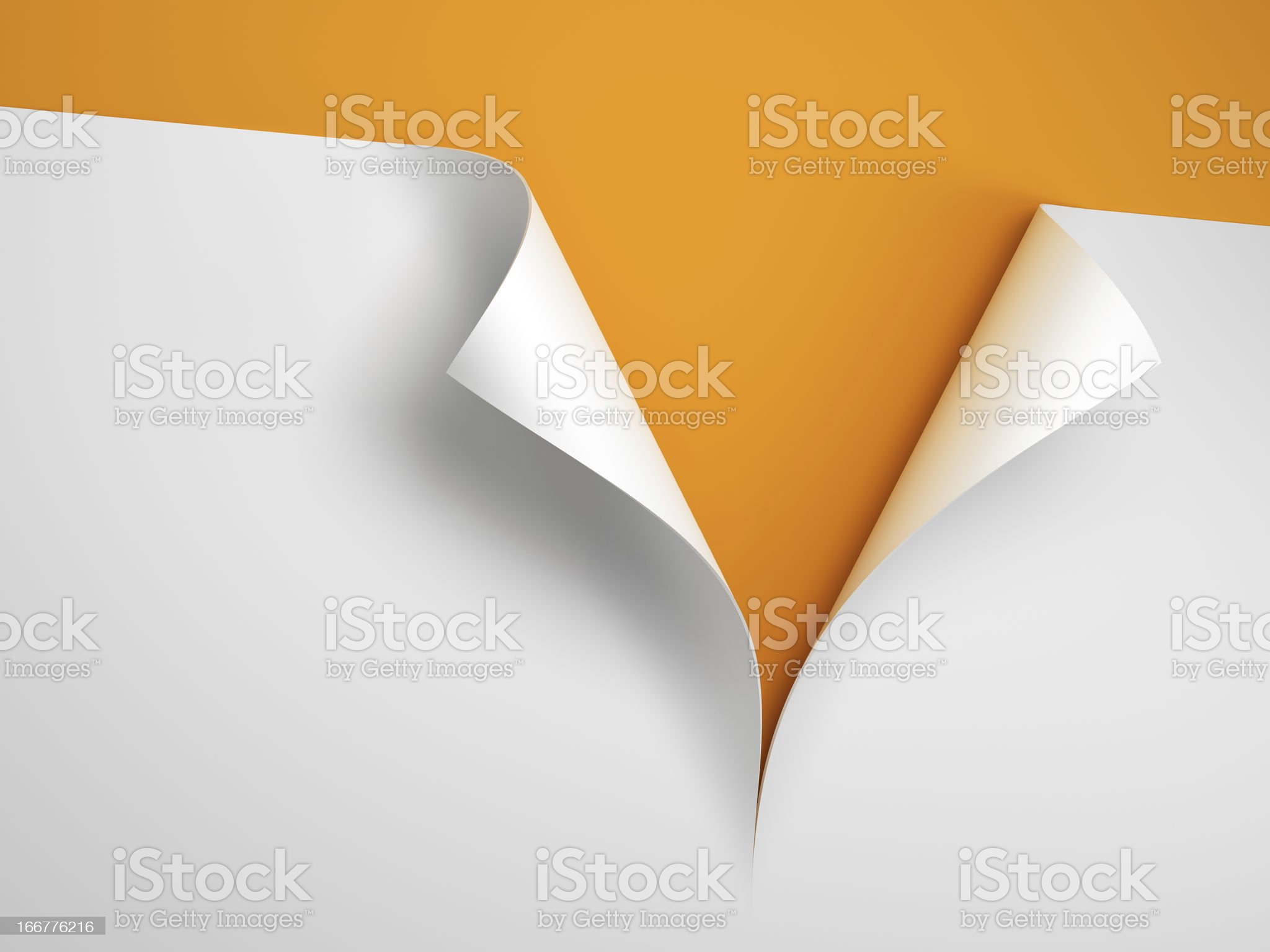 Sheet of paper cut with curled corner on orange background royalty-free stock photo
