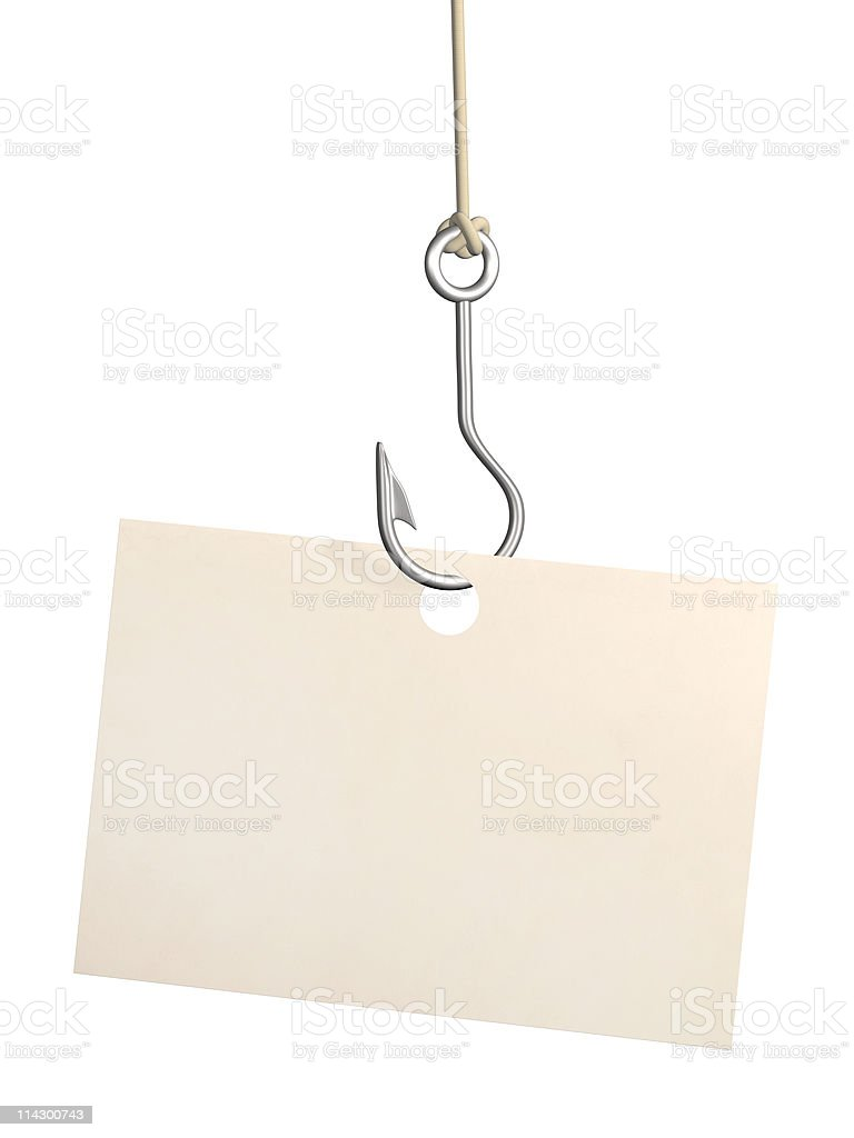 Sheet of paper on fishing hook stock photo