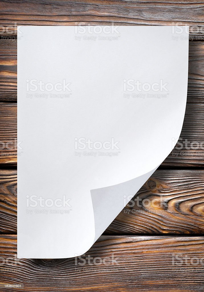 Sheet of paper on table royalty-free stock photo