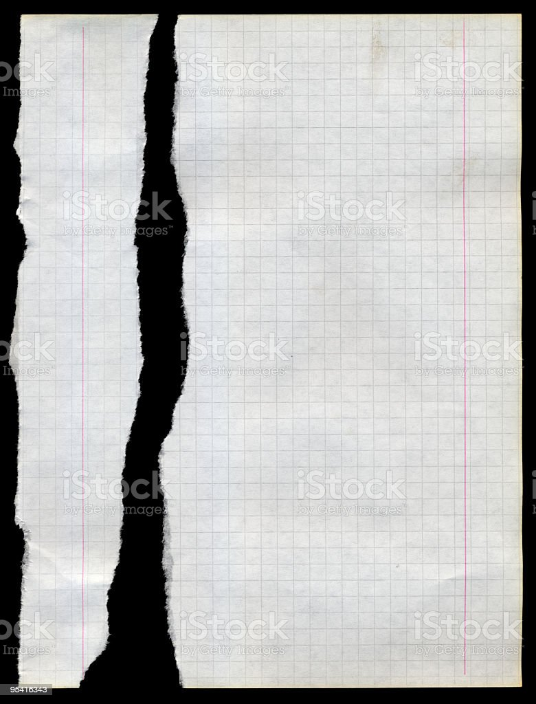 Sheet of Paper Torn checked Note Pad royalty-free stock photo