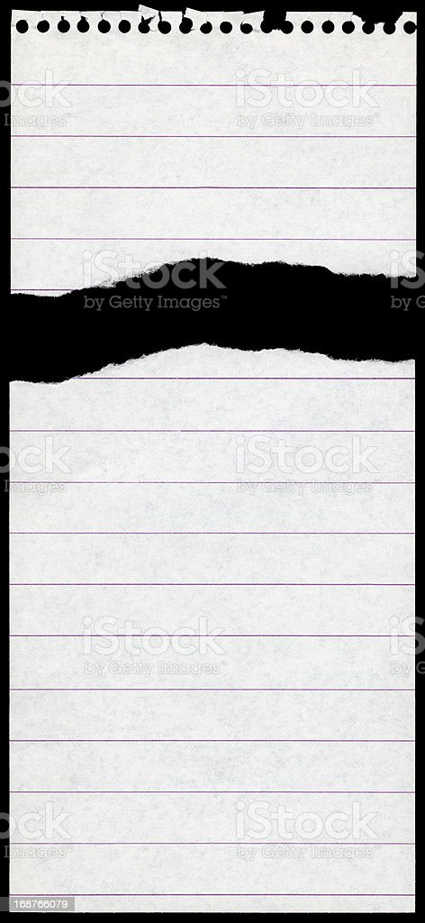 Sheet of Paper Torn From Reporter's Note Pad stock photo