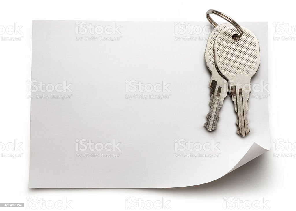 Sheet of paper with keys stock photo