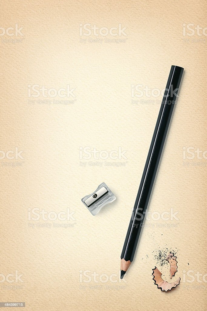 sheet of paper with pencil isolated on white stock photo