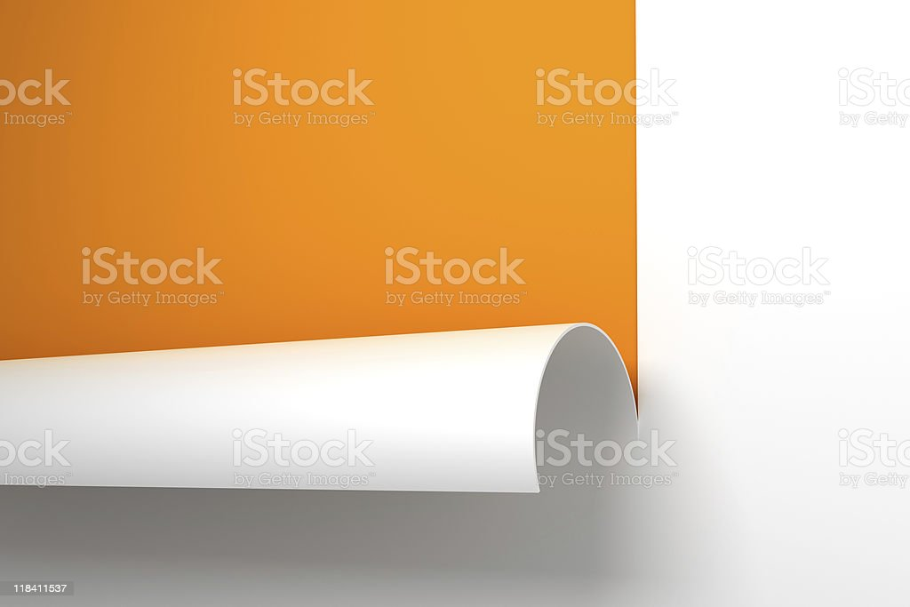 Sheet of paper with the curled corner 3d rendering royalty-free stock photo