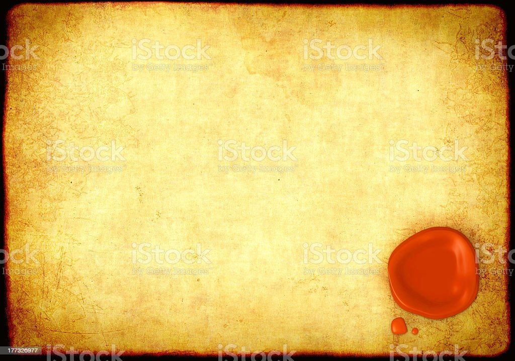Sheet of parchment with a sealing wax sea royalty-free stock photo
