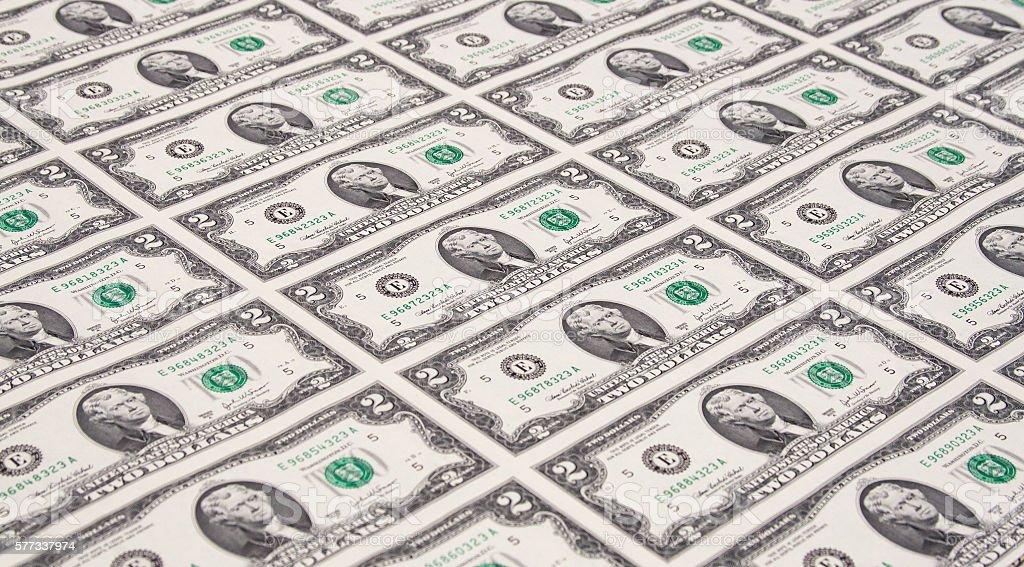 Sheet of Two Dollar Bills stock photo