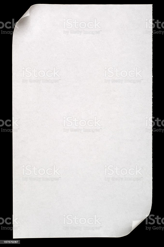 Sheet of white blank paper isolated on black royalty-free stock photo